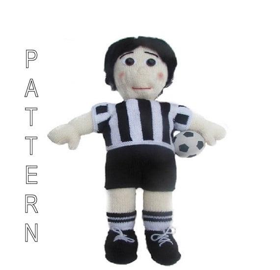 Knitting Pattern Football Soccer Doll Football by WistfullyWoolen