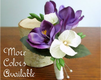 """Set of Silk Freesia Boutonnieres, Ivory, Green, Pink, Purple, Red, Peach, or Yellow, Groom's Boutonniere, Groomsmen, """"Faith"""""""