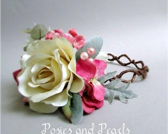 "Rose Pink, Green, and Ivory Floral Hair Crown, Rose, Hydrangea, Berries, Grapevine Head Wreath, Silk Flower Bridal Crown, ""Roselle"""