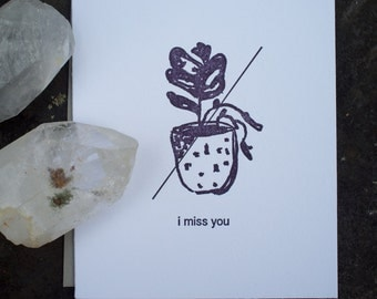 Wilted - I Miss You - Letterpress Card