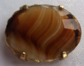 Large Vintage glass striped agate stone brooch