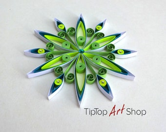 Paper Quilling Snowflake Ornament for Your Christmas Decoration; Neon Yellow, Green, Blue, White;Gift Packaged;