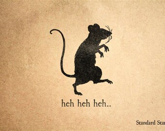 Plotting Rat Rubber Stamp - 2 x 2 inches