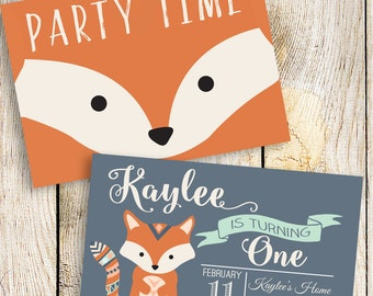 Fox Invitation, Fox Birthday Invitation, Fox Party, Woodland Invitation, Camping Invitation, DIY Includes Front and Back Files, 5x7 or 4x6,