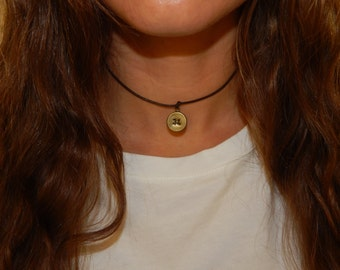 Leather Engraved Bronze Medallion Choker Necklace