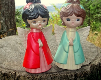 Hand Painted Choir Angels - Christmas Angels - Christmas Decor - Plaster Angels