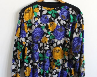 Vintage Bright Floral Lightweight Jumper