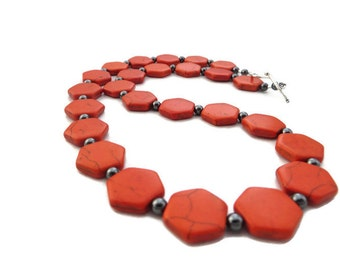Orange Necklace, Orange Turquoise Necklace, Chunky Orange Necklace, Tangerine Necklace, Orange Stone Necklace, Bright Orange Statement