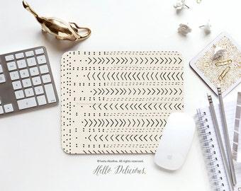 "Mouse Pad ""Mud Cloth Inspo No.8"" Iveta Abolina Mousepad Mouse Mat Mouse Pad Office Mousemat Rectangular Mousepad Round I173"