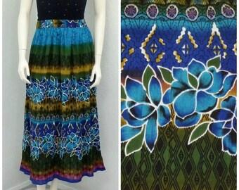 Vintage 90s Blue Boho Maxi Skirt, Bohemian Skirt, High Waisted Skirt, Floral Skirt, A Line Skirt, Gypsy Skirt, Boho Skirt