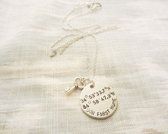 Custom Our First Home Coordinate Necklace or Keychain - Coordinate Gift - Custom Stamped Jewelry - Sterling Silver Available