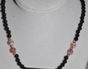Necklace Pendant Onyx Frame Jasper Pink Glass Bead #820