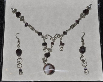 Upcycled Necklace Earrings Set Amethyst Hand Wrought Wire #846