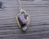 Laguna Lace Agate Silver Gemstone Artisan Pendant Necklace JMK