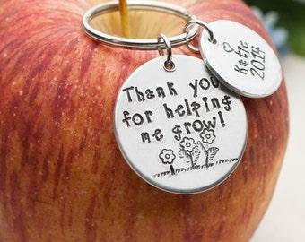 Teacher Gift,Teacher Thank You Gift, Personalized Teacher Gift, Personalized Keychain, Teacher Keychain, Hand Stamped Keychain Gift