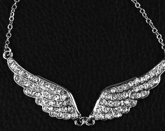 Gorgeous  Rhinestone Silver Plated Angel Wing Necklace.