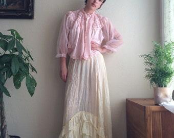 1920s Creamy Silk Ruffled Slip