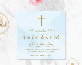 Boy Baptism Invitation Printable / Boy Christening Invite / Cross / Watercolor