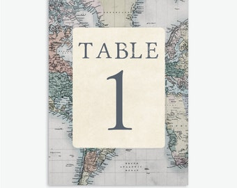 Rustic & Vintage Travel Theme Wedding Table Numbers 1-20 [Instant Download]