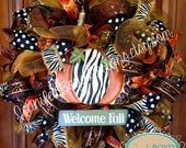 Leopard and Zebra Print Fall Deco Mesh Wreath Embellished with Animal Printed Pumpkin
