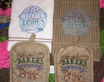 Embroidered Kitchen Towel and Hot Pad Set