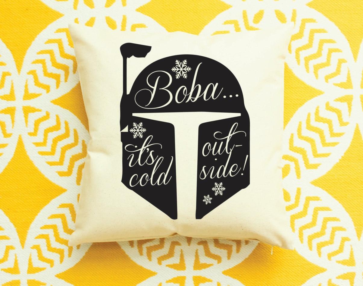 Star Wars Christmas Decor Boba Fett Baby It's Cold Outside Pillow ...