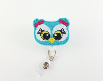 Owl - Felt Badge Reel - Retractable ID Badge - Cute Badge Reels - Name Badge Holder - RN Badge Reel - Badge ID Reels - Teacher Badge Clip