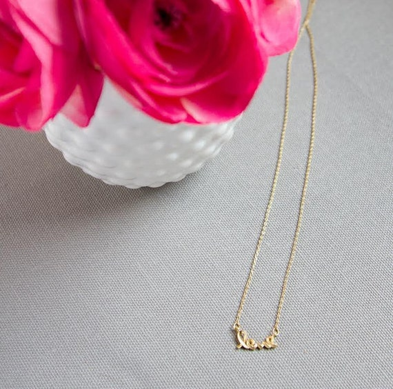 Gold Love Necklace--Valentine's Day Necklace--Gold Love Pendant--Matte Gold Love Necklace