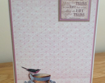 Birthday Card.  Ladies or Girls Shabby Chic Vintage Card With Vintage Teacup, Bird, Inspiring Words and Mother of Pearl Foiling