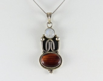 Pendant Large Sterling Silver Tiger Eye and Moonstone Pendant