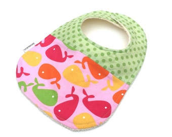 ON SALE - Girls Bib - Girls Pink Baby Bib - Bib With Fishes -Infant Bib - Baby Bibs