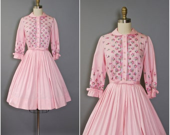 1950's Embroidered Dress • Vicky Vaughn Dress • 50's Pink Cotton Dress