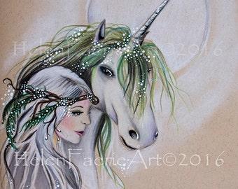 Small Print (5 x 7 inches) 'The Faery & The Unicorn' Fantasy, Fairy, Faery Friendship, Unicorns, Mythical Creatures, Magical Fairy Friends