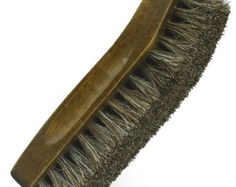 "Small Boot & Shoe SHINE BRUSH 100% Brown Horsehair bristles for polishing shining leather boots shoes purse handbag 5"" x 1.5"" EYKOSI"