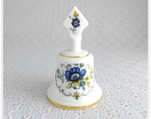 Vintage Collectible Bell, Harleigh China, Fine Bone China, Made in England, White Porcelain, Dark Blue Flowers, Gold Trim, Dinner Bell