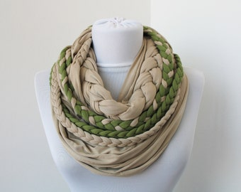 Sage Green Wheat Loop Scarf Infinity Jersey Scarf Partially braided Circle Scarf Scarf Nekclace