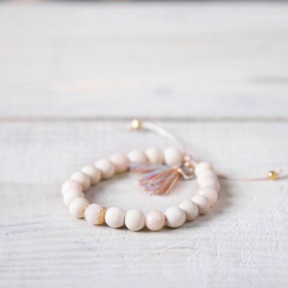 Wood bead bracelet and semi-precious stone on nylon thread handmade in Montreal