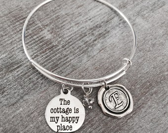SALE, The cottage is my happy place, Lake house, Cottage, Hill Country, Lake cabin, Silver Bracelet, Silver Jewelry, Charm Bracelet, gifts