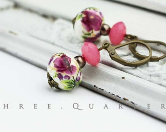 Earrings, cherry blossoms, Japan, China, Ceramics, white, old rose, fuchsia, vintage, antique, bronze, flowers, pearls, wedding, summer