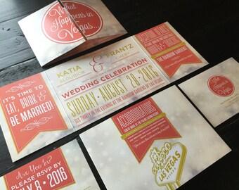 Las Vegas Custom Fold Wedding Invitations   Married in Vegas   Elopement Announcements   Las Vegas Wedding Design