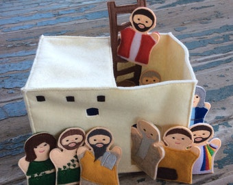 Ancient Bible Times House with Ladder , Felt Finger Puppet Play Set