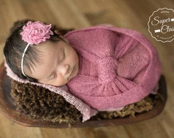 Flower Headband, Pink Flower Headband, Pink Headband, Flower Headband, Shabby Chic Flower, Newborn Headband, Photography Prop, Headband