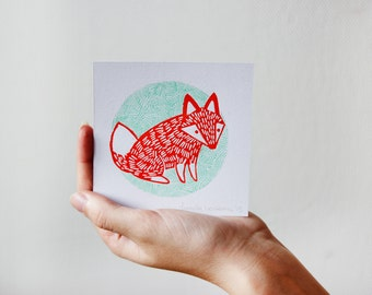 Fox Illustration Linocut Print