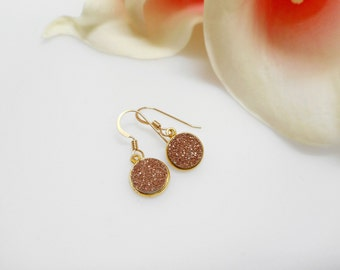 FREE US Ship Rose Gold Drusy Earrings in Gold Vermeil Settings Round Drusy Earrings Small Drusy Earrings Boho Earrings Rose Gold Earrings