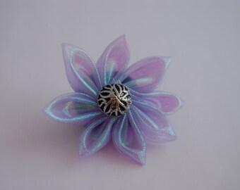 Purple Organza Kanzashi Flower Brooch