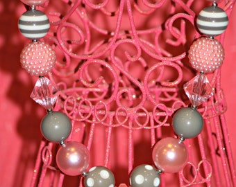 Pink and Grey Bubble Gum Necklace with Diamond