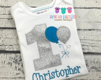 1st Birthday Boy Balloon Shirt - Boy Birthday Shirt - Balloon Birthday Outfit - Silver Blue Birthday shirt