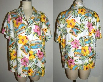 1990s 90s Blouse / Hawaiian / Floral  / oversized  / slouchy / rayon  / Vintage 1X / fits XL