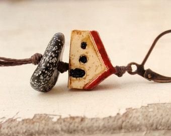 House earrings, christmas gift, home jewelry, ochre cottage earrings, little house dangle earrings, housewarming present, house art jewelry