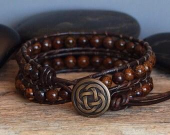 Mens Beaded Leather Wrap Bracelet, Mens Bronzite Bracelet, Natural Stone Beaded Wrap, Mens Beaded Double Wrap, Earthy Bohemian Bracelet
